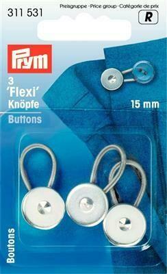 Flexiknop 15mm zilver
