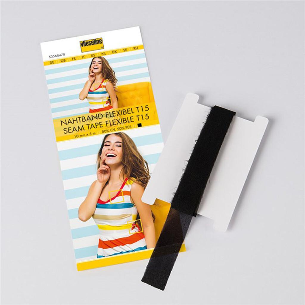 Vlieseline naadband elastisch zwart