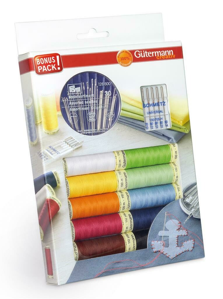 Gütermann bonuspack 10 kleuren + naalden assortiment
