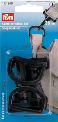 Karabijnhakenset kunststof 30mm zwart
