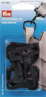 Karabijnhakenset kunststof 40mm zwart