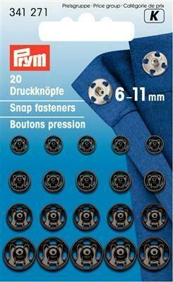 Drukknopen om aan te naaien assortiment 6-11mm zwart