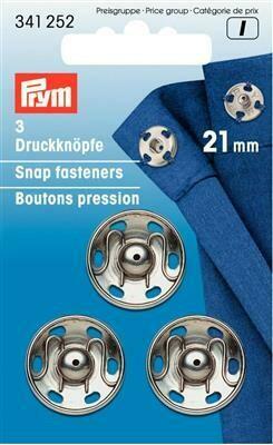Drukknopen om aan te naaien 21mm nikkel