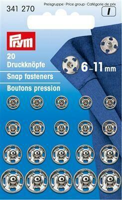 Drukknopen om aan te naaien assortiment 6-11mm nikkel