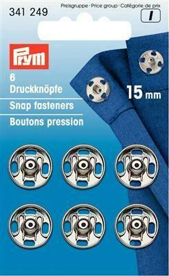 Drukknopen om aan te naaien 15mm nikkel