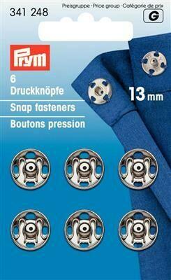 Drukknopen om aan te naaien 13mm nikkel