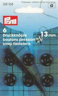Drukknopen om aan te naaien 13mm zwart