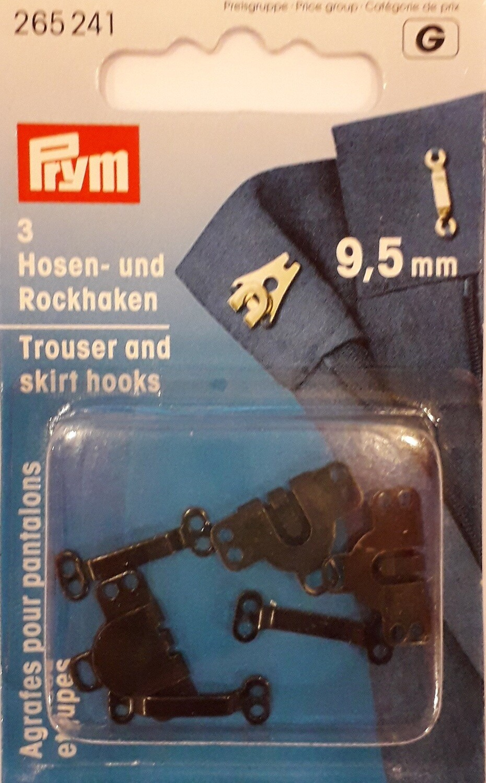 Broek- & rokhaken 9,5mm zwart 3 stuks