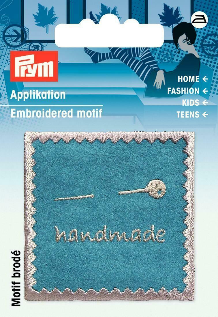 "Applicatie ""handmade"" turquoise"