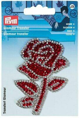 Applicatie glamour roos met stengel rood-zilver