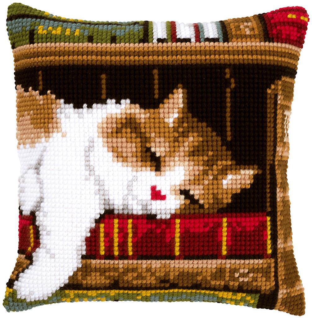 Kruissteek kussen Slapende kat op boekenrek