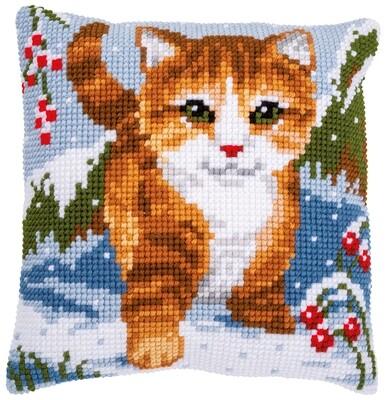 Kruissteek kussen Kat in de sneeuw