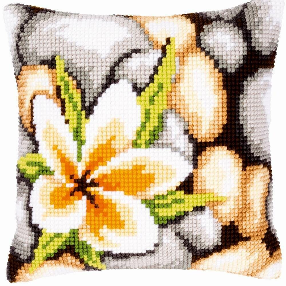 Kruissteek kussen Stenen & bloemen