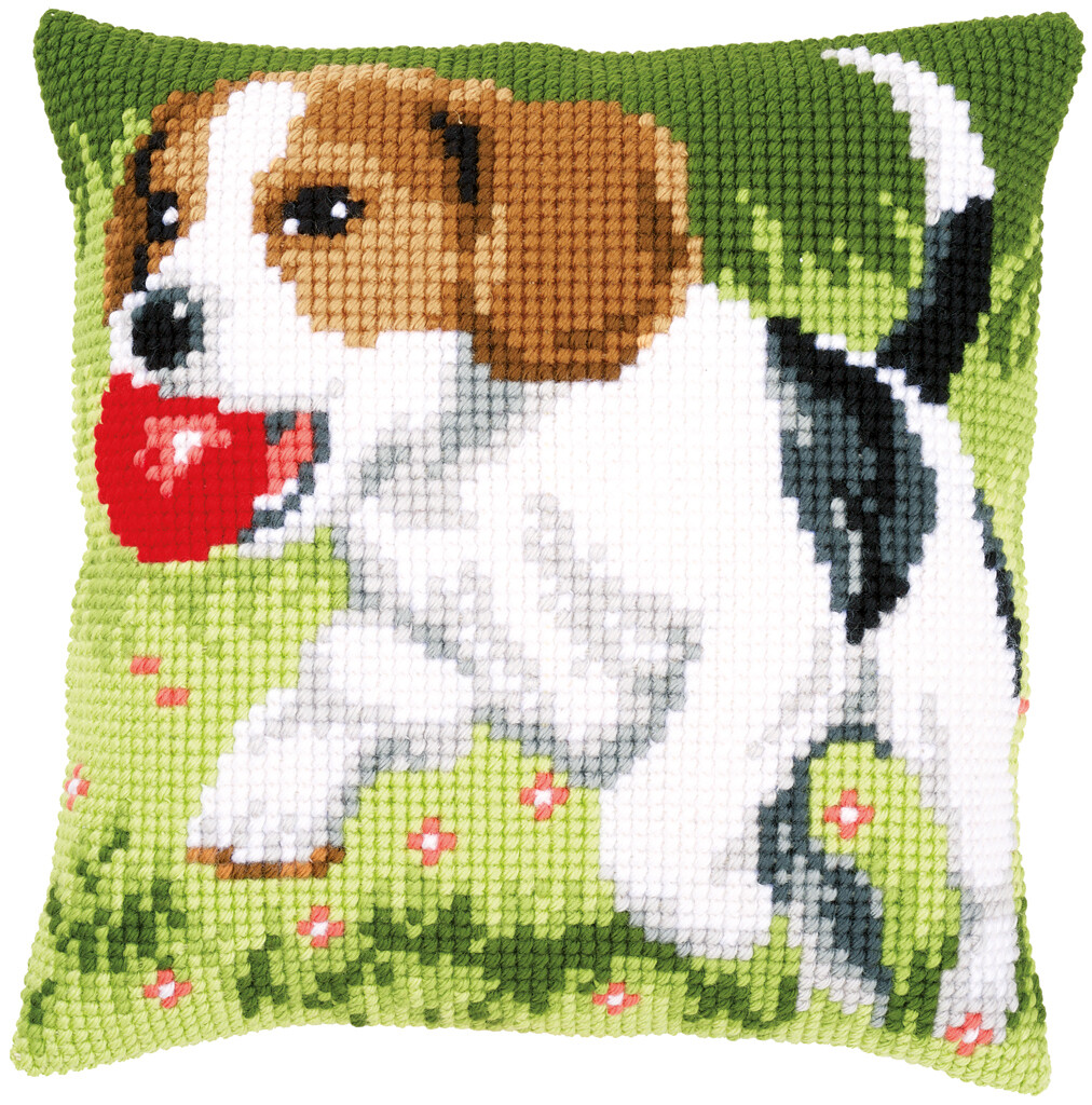 Kruissteek kussen Spelende hond