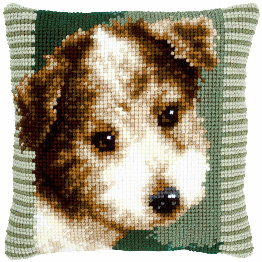 Kruissteek kussen Terrier puppy