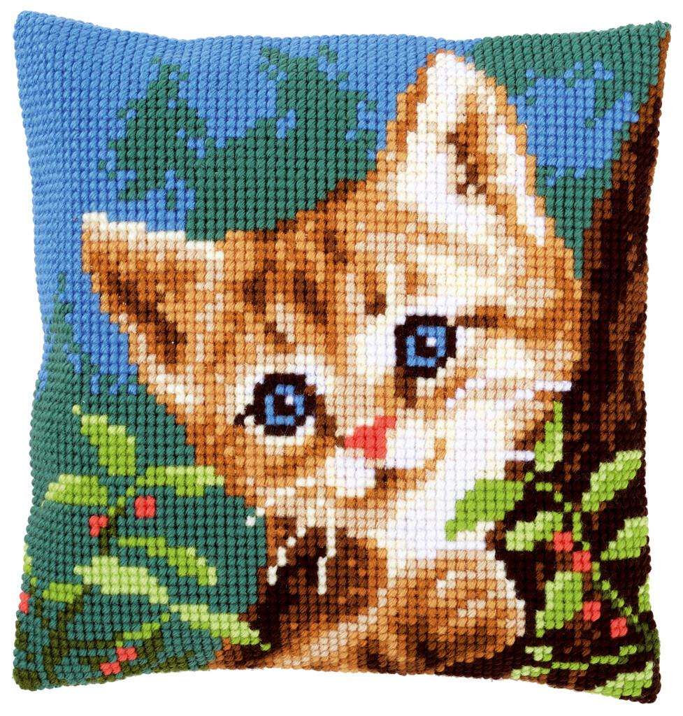 Kruissteek kussen Kat in boom