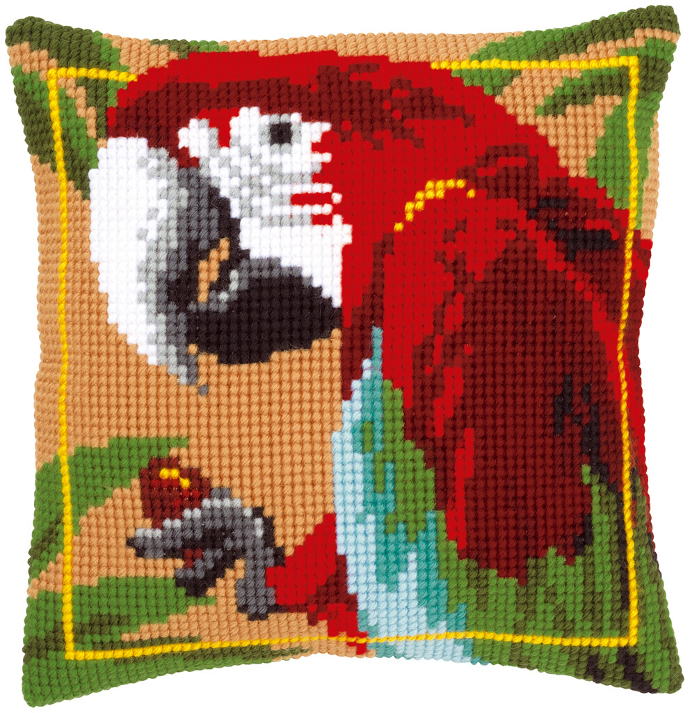 Kruissteek kussen Rode papegaai