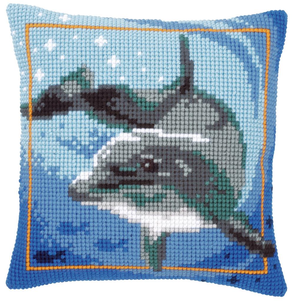Kruissteek kussen Dolfijn