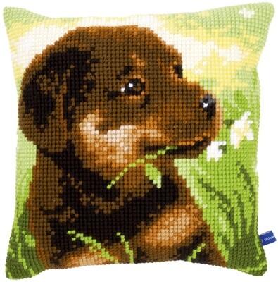 Kruissteek kussen Rottweiler pup