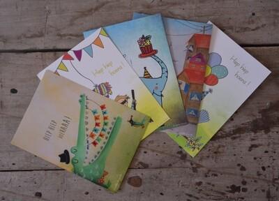 Set van vijf kaartjes