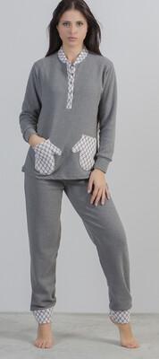 Gary Dames Pyjama: Grijs met zakken ( Zeer warme pyjama / HomeWear