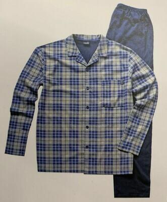 Ammann Heren doorknoop pyjama: Blauw / grijs 100% Katoen