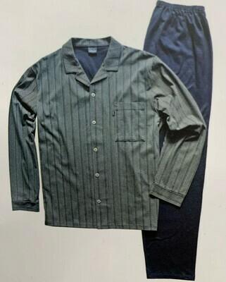 Ammann Heren doorknoop pyjama: Groen gestreept 100% Katoen