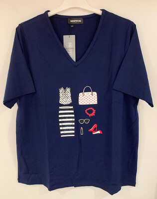 SeeYou Blauwe T-shirt V hals tot maat 54