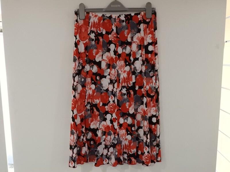 Bassini rode rok met elastiek ( gevoerd )