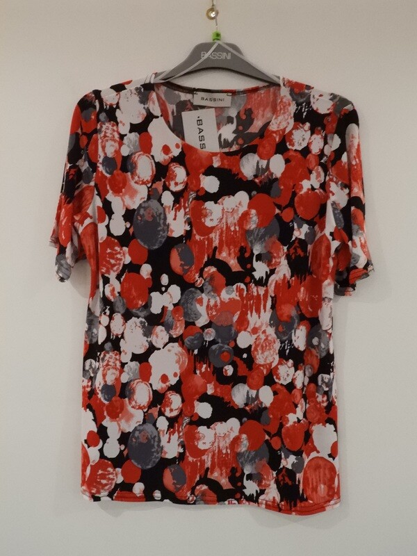 Bassini Rode shirt met korte mouw