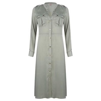 Esqualo lang satijn kleed: doorknoop ( olijfgroen )
