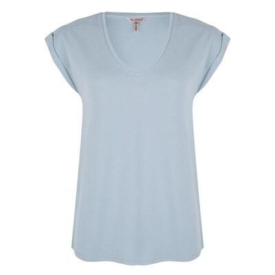Esqualo T-Shirt licht blauw: V hals