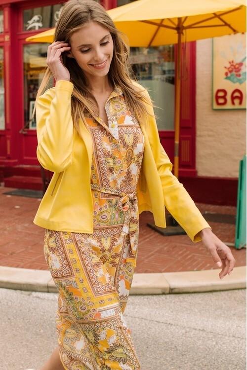Signe Nature lang geel gedrukt kleed