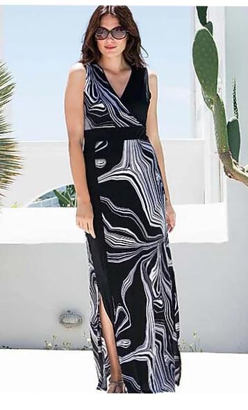 Marble lang tricot kleed ( zwart / wit )