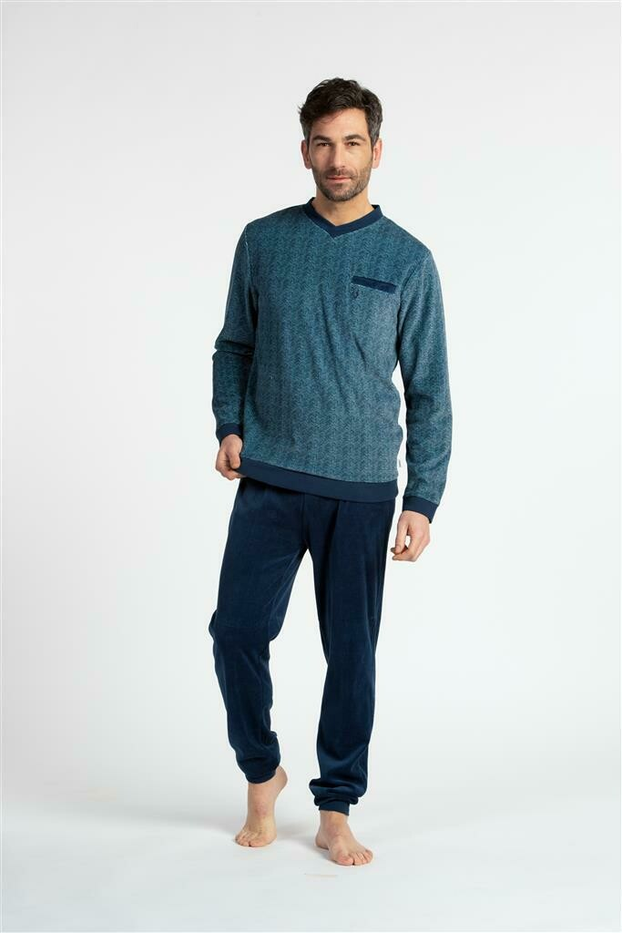 Eskimo Pyjama: Dave velour pyjama v-hals (S tot 2XL)