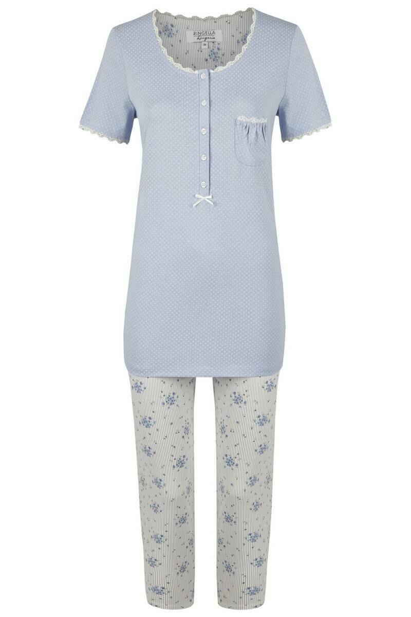 Ringella Dames pyjama blauw 7/8 broek