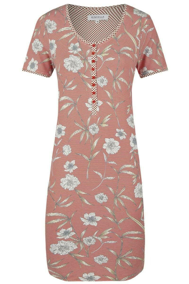 Ringella Dames nachthemd: oranje gestreept korte mouw