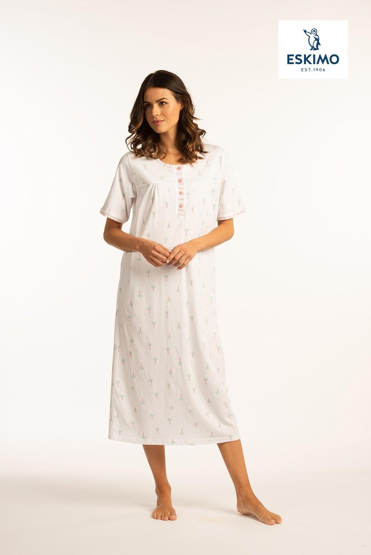 Eskimo Dames nachthemd met frons 100% katoen: Ambretta