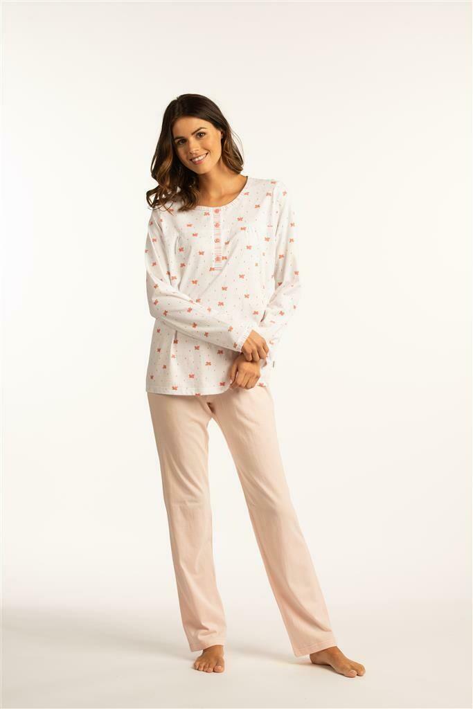 Eskimo Dames Pyjama met lange mouwen: Ambretta ( 100% Katoen)
