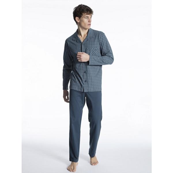 Calida Pyjama: Doorknoop ( 100% Katoen ) Ideaal voor Ziekenhuisopname