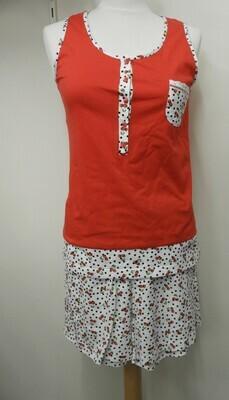 Egatex Dames Pyjama top/short ( kersenmotief)