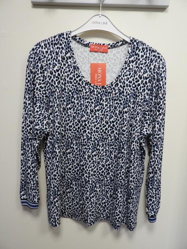 Mona Lisa Shirt lange mouw ( blauwe luipaardprint )