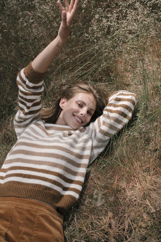 Signe Nature Sweater gestreept: beige / camel / Ecru