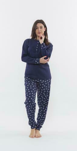 Gary Dames Pyjama: Interlock ( Blauw )