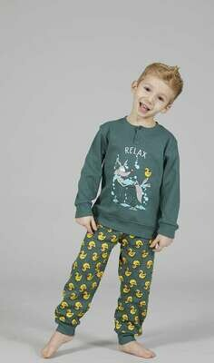 Happy People Jongens Pyjama: Relax Paralle Antraciet / Blauw