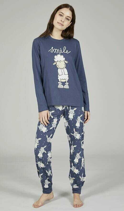 Happy People Dames Pyjama: Smile 100% Katoen