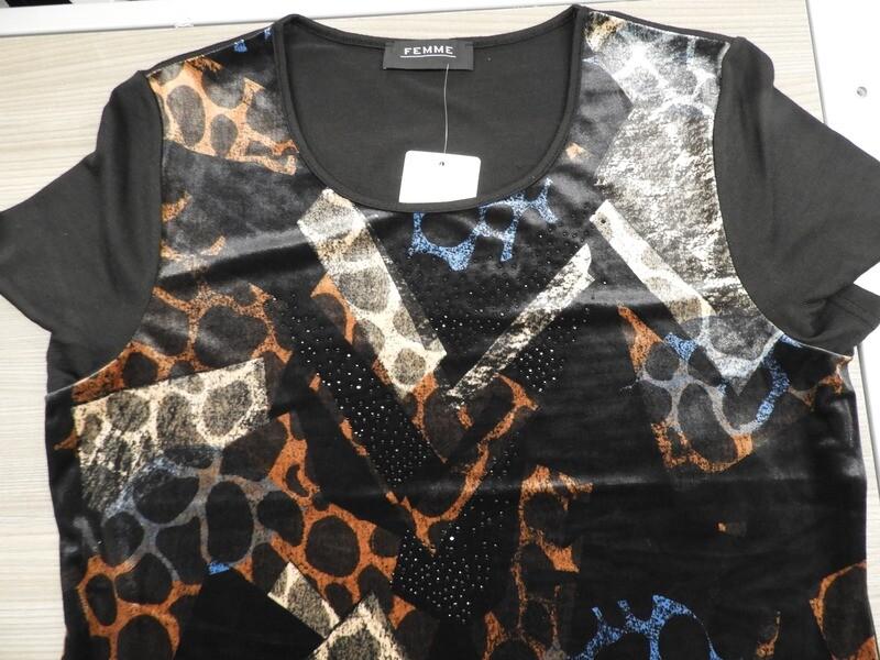 Femme Shirt, fijne brei ( zwart met velours )