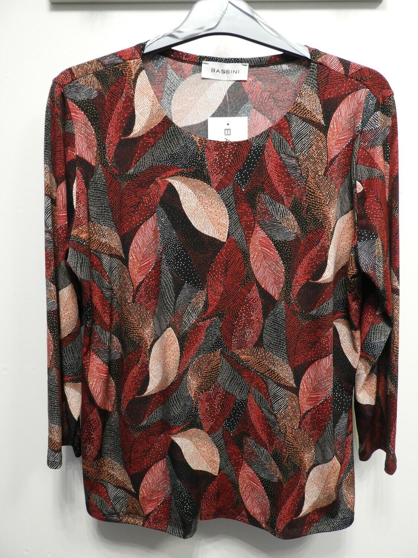 Bassini shirt 7/8 mouwen: bordeau