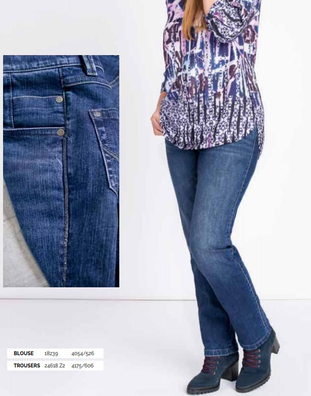 Kj Brand Jeans broek: Betty ( elastiek + knoop ) tot maat 54