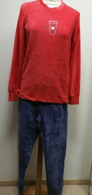 Egatex Dames Pyjama: Ribfluweel